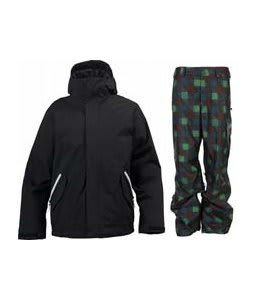 Burton TWC Such A Deal Jacket True Black w/ Burton Poacher Pants Mocha Native Plaid