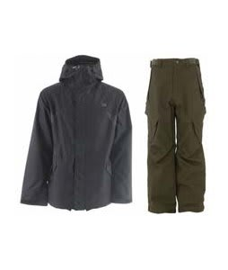 DC Amo Jacket Black w/ Sessions Zoom Pants Fatigue Green