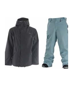DC Amo Jacket Black w/ Special Blend Empire Pants Powday Blue