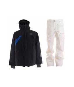 DC Helix Jacket Black w/ Burton Ronin Cargo Snowboard Pant Bright White