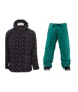Foursquare PJ Jacket Black Logo Grid w/ Foursquare Wong Pants Emerald