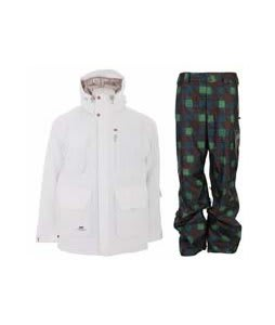 Foursquare PJ Jacket White w/ Burton Poacher Pants Mocha Native Plaid