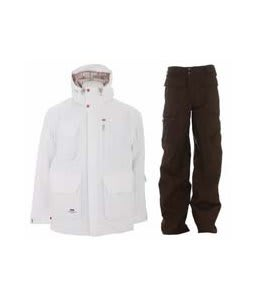 Foursquare PJ Jacket White w/ Burton Ronin Cargo Pants Mocha