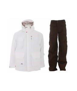 Foursquare PJ Jacket White w/ Burton Ronin Cargo Pants Mocha