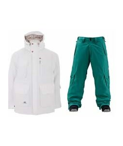 Foursquare PJ Jacket White w/ Foursquare Wong Pants Emerald