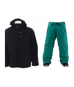 Foursquare Wright Jacket Black w/ Foursquare Wong Pants Emerald