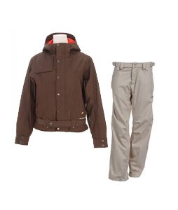 Burton After Hours Jacket Roasted Brown w/ Foursquare Kim Pants Sandstone Hatch