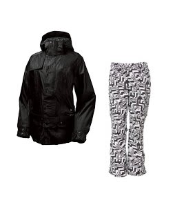 Burton After Hours Jacket True Black w/ Burton Lucky Pants Black Labrinth Print