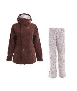 Burton Cherish Jacket Chestnut Cord w/ Burton Mighty Snowboard Pant Chestnut Paper Print