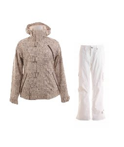Burton Dream Jacket Chestnut Paper Print w/ Burton Lucky Snowboard Pant Antique Ivory