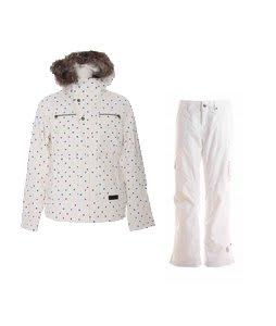 Burton Lush Jacket Multi Polka Squares Print w/ Burton Lucky Snowboard Pant Antique Ivory