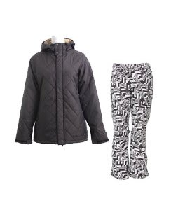 Burton TWC Cozy A-Line Jacket True Black w/ Burton Lucky Pants Black Labrinth Print
