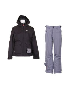 Foursquare Angela Jacket Black w/ Burton Lucky Snowboard Pant Multi Polka Squares