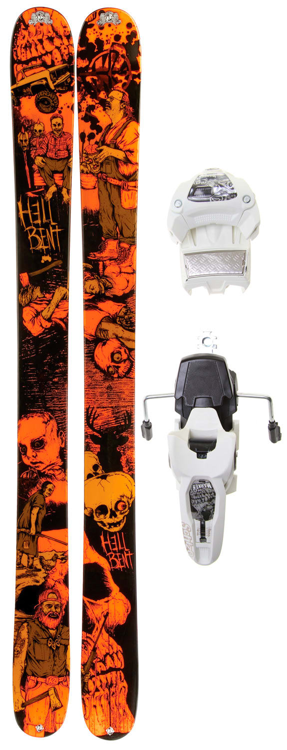 Shop for K2 Hell Bent Skis w/ Marker Griffon 12.0 Shizofrantic Bindings - Men's