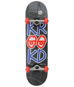 Krooked Stacked Eyes LG Skateboard Complete Black/Red 8in