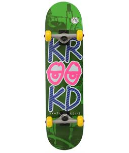 Krooked Stacked Eyes MD Skateboard Complete Green/Pink 7.75in