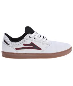 Lakai Linden Skate Shoes White/Maroon Suede