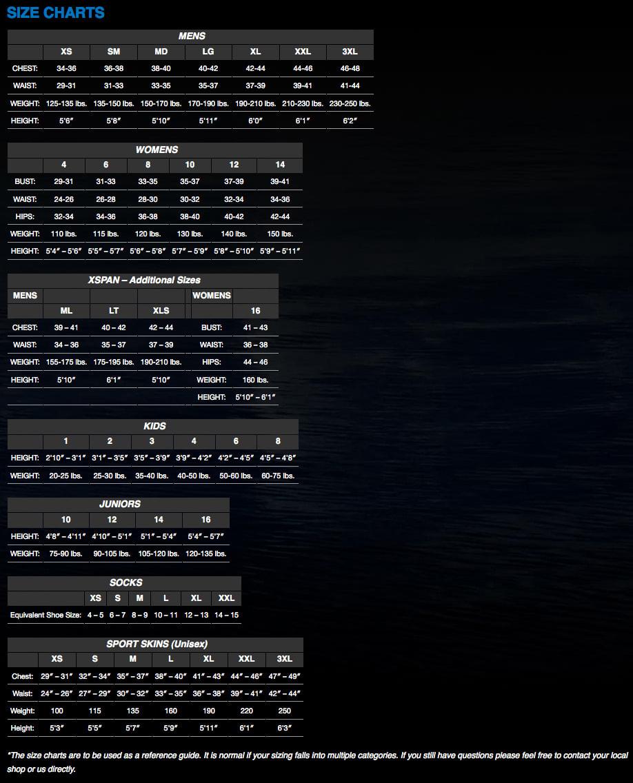 Neosport Size Chart