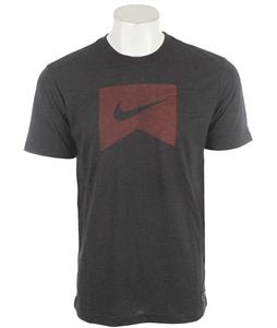 Nike Ribbon Logo Dri-Fit Blend T-Shirt Black Heather/Team Red
