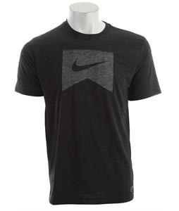 Nike Ribbon Logo Dri Fit Blend T-Shirt Black Heather/White