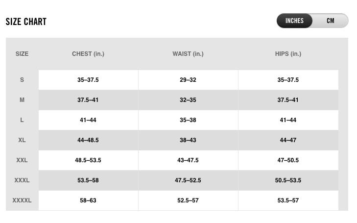 Nike Men's Sizing Chart