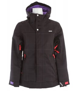 Nomis Asym Insulated Snowboard Jacket Black Plaid/Pansy/Cherry Tomato