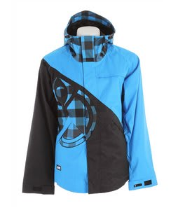 Nomis Diagonal Shell Snowboard Jacket Bright Blue/Black/Bright Blue Box Plaid