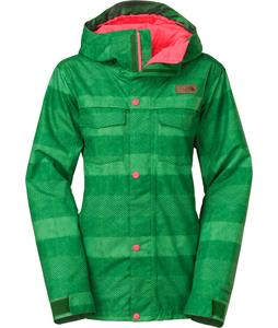 The North Face Ricas Insulated Ski Jacket Amazon Green Stripe Herringbone Print