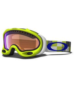 Oakley A Frame Snowboard Goggles Lightning Green Digi-Camo/Blue Iridium Lens