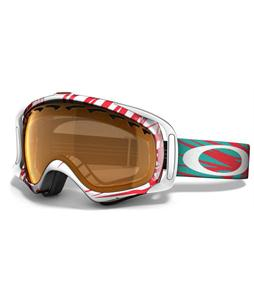 Oakley Crowbar Snowboard Goggles Scratch White-Red/Persimmon Lens