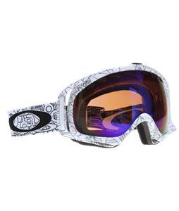 Oakley Crowbar Snowboard Goggles White Factory Text/Blue Iridium Lens