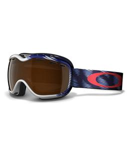Oakley Stockholm Snowboard Goggles Snow Traction White-Blue/Black Iridium Lens