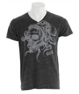 Obey Octoskull Tri Blend V-Neck T-Shirt Heather Onyx