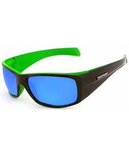 Peppers Low Rider Sunglasses Shiny Black Over Matte Lime/Brown Polarized w/ Diamond Blue Mirror Lens