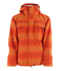 Planet Earth Faded Flannel Insulated Snowboard Jacket Sunset Orange