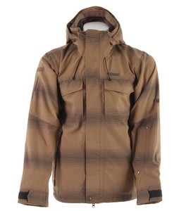 Planet Earth Fading Flannel Stripe Snowboard Jacket Breen Brown/Dk Choc
