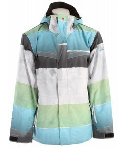 Quiksilver Last Mission Prints Shell Snowboard Jacket White/Blue/Lime Stripe