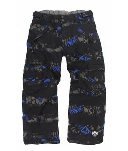 Ride Charger Insulated Snow Pants Torn Stripe Print Electric Blue