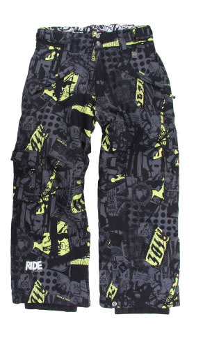 Ride Charger Youth Snow Pants Ruckus Print Lime