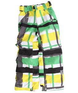 Ride Charger Snowboard Pants Painted Plaid Print Green