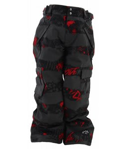 Ride Charger Snow Pants Torn Stripe Print Red