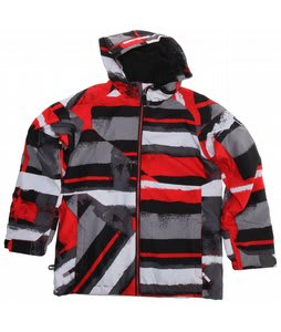 Ride Hemi Snowboard Jacket Painted Plaid Print Red