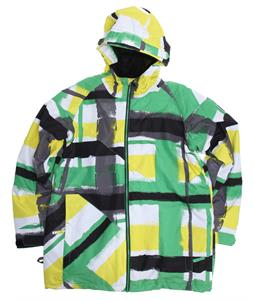 Ride Hemi Snowboard Jacket Painted Plaid Print Green