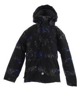 Ride Hemi Snowboard Jacket Torn Stripe Print Electric