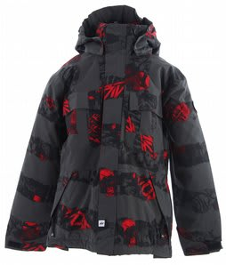 Ride Hemi Snowboard Jacket Torn Stripe Print Red