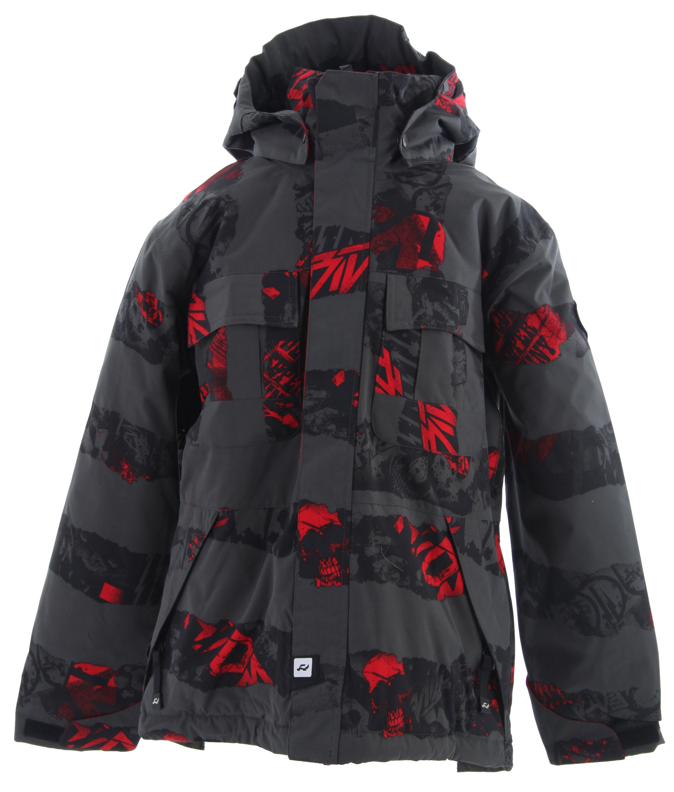 Shop for Ride Hemi Snowboard Jacket Torn Stripe Print Red - Kid's