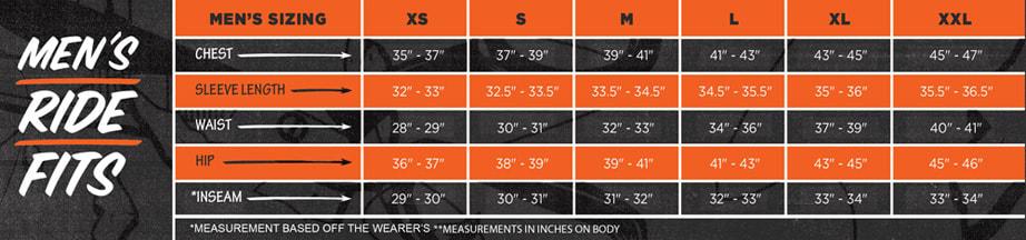 Cappel Men's Size Chart