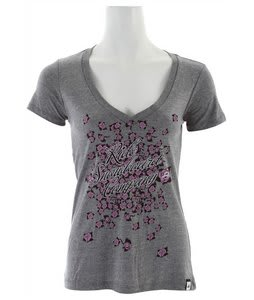Ride Roses V-Neck T-Shirt Heather Grey