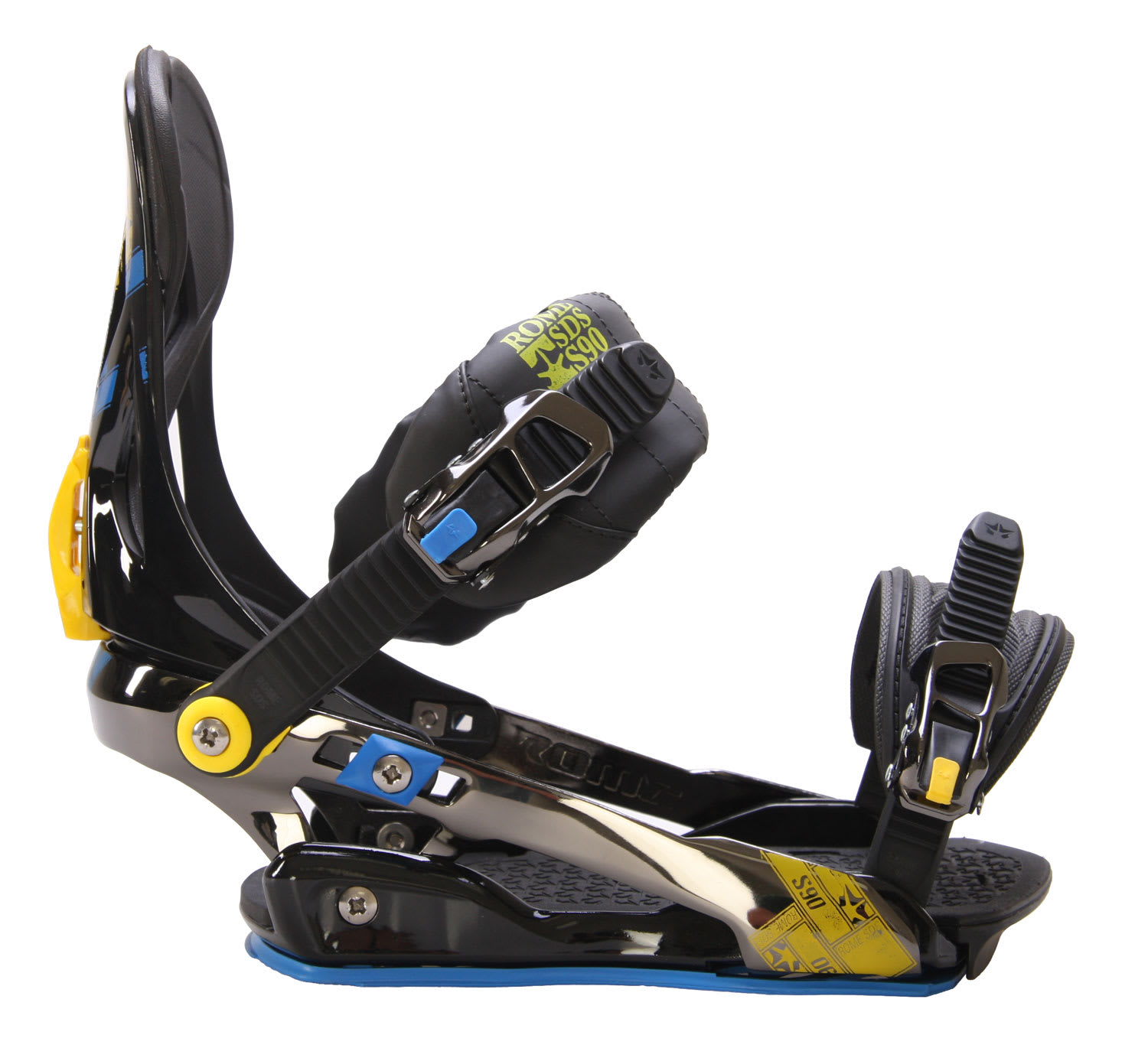 Rome S90 Mens Snowboard Bindings Blue/Yellow Sz L/XL (9-14