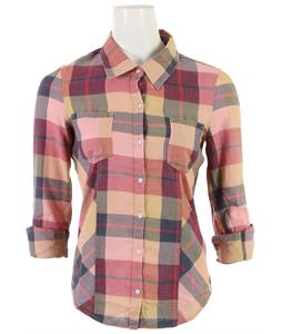 Roxy Driftwood Shirt Coffee Creamy Gold Plaid